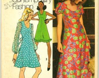 Vintage Juniors' and Misses' Dress in Two Lengths Simplicity Sewing Pattern No. 5015 - Size 10
