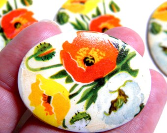 Cabochon - 4 RARE Vintage (1940s), Glass,  Hand-finished Yellow, Red and White Poppies  30x40MM
