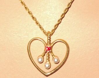 Avon Heart Pendant on Delicate Gold Chain