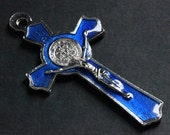 Cobalt Blue Enamel Cross in Silver. Italian St Benedict Cross Charm. Rosary Cross. Rosary Supplies. 50x27mm Crucifix (1 pc)