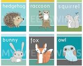 Instant Download - 6 Digital Prints Woodland Animal Series: Six 8x10 Prints of Squirrel, Raccoon, Owl, Hedgehog, Bunny, Fox
