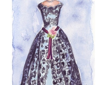 5x7 Print Fashion Watercolor Painting - Black Lace Vintage Dress - Fashion Illustration - 5x7 Print