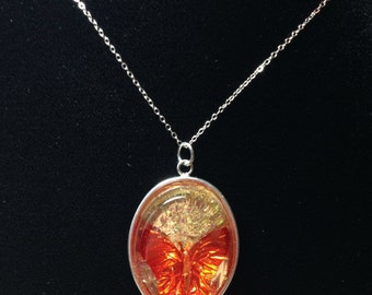 Sale! 20% Off! Flame Butterfly Resin Pendant