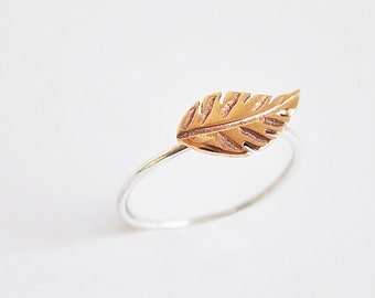 leaf ring - sterling silver and bronze- free shipping