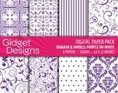 Purple Digital Paper Pack Damask Patterns Purple and White Scrapbook Paper
