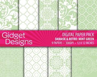 Green Digital Paper Pack Mint Green and White Damask Quatrefoil Patterns Instant Download Printables