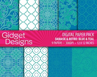 Blue and Turquoise Digital Paper Pack Damask Quatrefoil Patterns Printable Paper