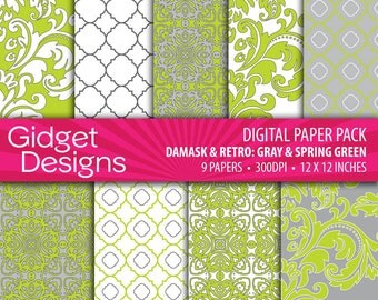 Green and Gray Digital Paper Pack Damasks Retro Patterns Quatrefoil Printable Instant Download Spring