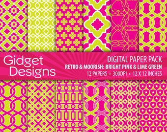 Digital Paper Pack Retro & Moorish Patterns - Lime Green and Pink INSTANT DOWNLOAD