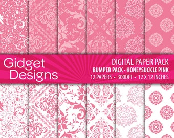 Pink Digital Paper Pack Damask Patterns Pink Scrapbook Paper Printable Digital Paper