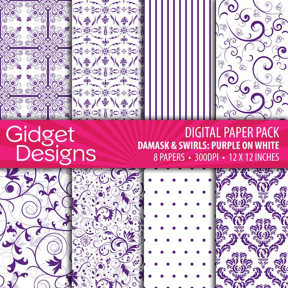 Purple Digital Paper Pack Damask Patterns Purple and White Scrapbook Paper