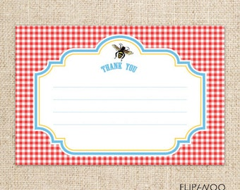 Picnic Bee Thank You Card Design by FLIPAWOO  - Instant Download Printable PDF File