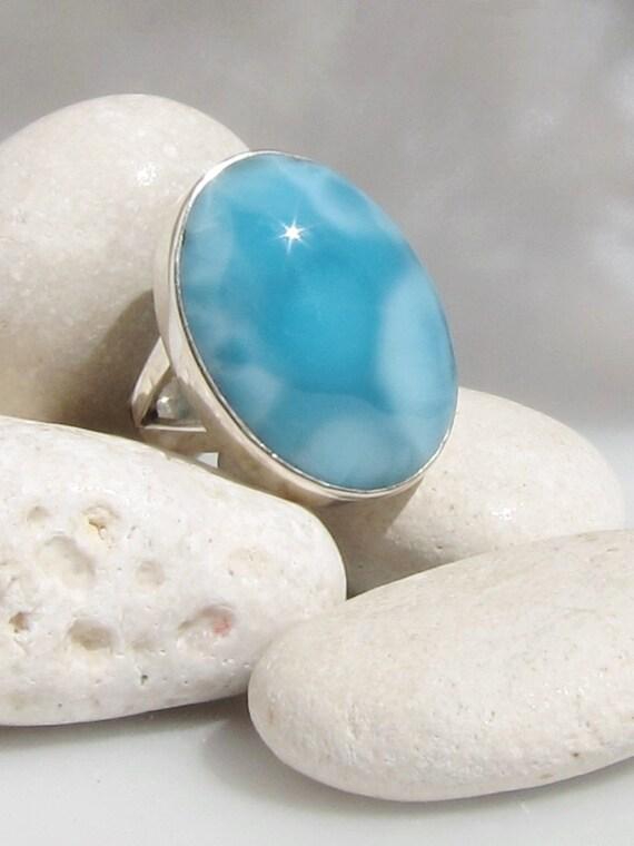 Larimar cocktail ring, Summer Dreams - gorgeous mottled sky blue Larimar gemstone - US 8