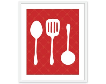 Kitchen Utensils  - Digital Print - Cooking Spoon Spatula - Poppy Red - Wall Art Print -  Under 20 Mothers day