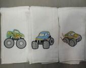 Monster truck baby boy burp cloths