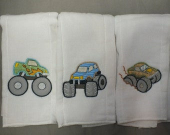 Monster truck burp cloths baby boy truck burp cloth personalized burp cloth