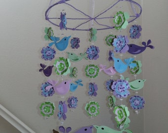 Love Bird Baby Mobile in Purples Turquoise and Pink Joel Dewberry Aviary PBK Brooklyn