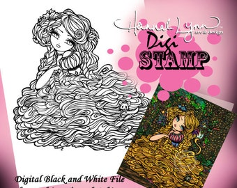 PRINTABLE Digi Stamp Rapunzel Fairytale Coloring Page Fun Fantasy Art Hannah Lynn