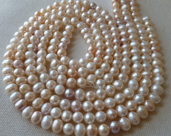 Creamy White Potato Pearls (All Natural)  -  8mm -  Beautiful High Luster - 1/2 Strand