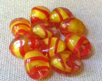 2 Vintage Red Striped Yellow Givre Glass Beads  - 14x11mm - Beautiful