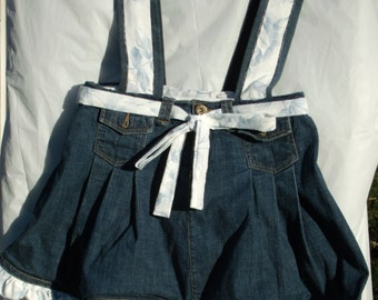 Upcycled Jean Skirt Purse with Ruffles (Cute for a walker or wheelchair)