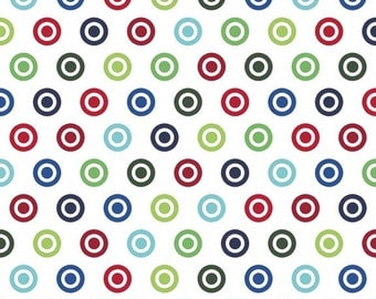 Red Blue Green and White Circle Dot Flannel, 1 Yard