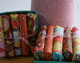 Fall Fabric Fat Quarter Berry Basket Fabric Bundle of 5