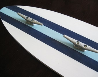 4 Foot Surfboard Hooks with Boat Cleats White, Sea Foam and Navy