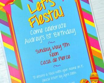 Fiesta Birthday Invitations, 1st Birthday Invitations, Fiesta Birthday Party Decorations, Cinco De Mayo Birthday Party - Set of 12