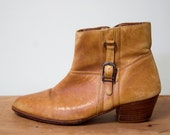 Vintage Tan Leather Ankle Boots Stacked Heel 6.5