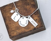 Graduation Necklace - Class of 2016 - Sterling Hand Stamped Jewelry - Graduation Gift by Betsy Farmer Designs