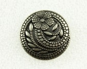 Wholesale - Flower Metal Buttons - Set 50 Thin Gunmetal Carved Floret Buttons,Gardens Feeling. 0.91 inch.