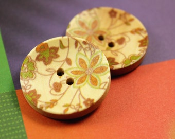 Flower Wooden Buttons -  Aged Yellow Bouquet Picture Concave Wood Buttons. 1.18 inch. 6 in a set