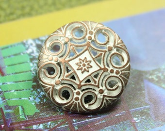 Metal Buttons - Swirl and Flower Metal Buttons , Copper White Color , Shank , 0.79 inch , 10 pcs