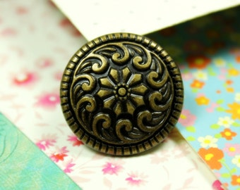 Metal Buttons - Seawave and Flower Metal Buttons , Antique Brass Color , Shank , 0.79 inch , 10 pcs