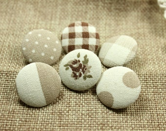 Elegant Khaki Theme Polka Dots Lattice and Flower Mix and Match Style Fabric Buttons,1 inch.  (6 in a set)