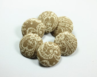 Elegant Baroque Floral Pattern Khaki Fabric Buttons,1 inch.  (6 in a set)