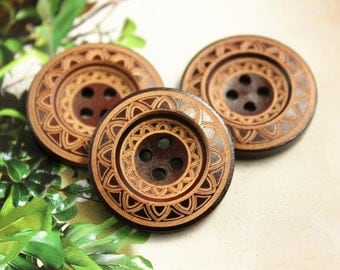 Brown Wooden Buttons - Japanese Style Mandala Wreath Pattern Brown Wood buttons. 0.98 inch, 10 pcs
