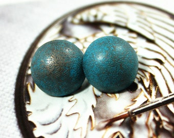 Metal Buttons - Old Blue Metal Buttons , Domed , Shank , 0.39 inch , 10 pcs