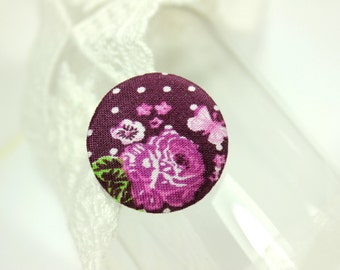 Elegant Polka Dots and Peony Flowers Violet Fabric Buttons, 1.18 inch.  (6 in a set)