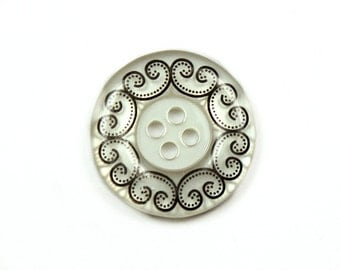 Wholesale - Lot 50 Pieces of White Translucent Buttons.With Scrollwork Edge and Recessed Center. 4 holes 0.91 inch