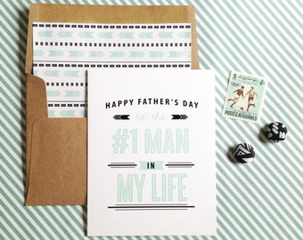 Number one man Father's Day Card- white folded A2 greeting card with lined kraft brown envelope included