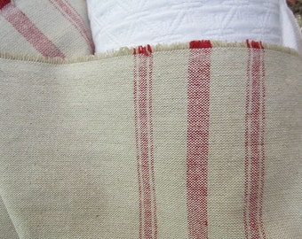 VERY FRENCH Rairoaded Woven French Red Stripe Cotton yardage fabric