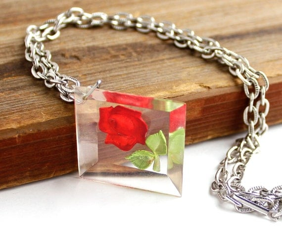 Vintage Rose Necklace - Silver Tone Flower Costume Jewelry / Floral Red Petals