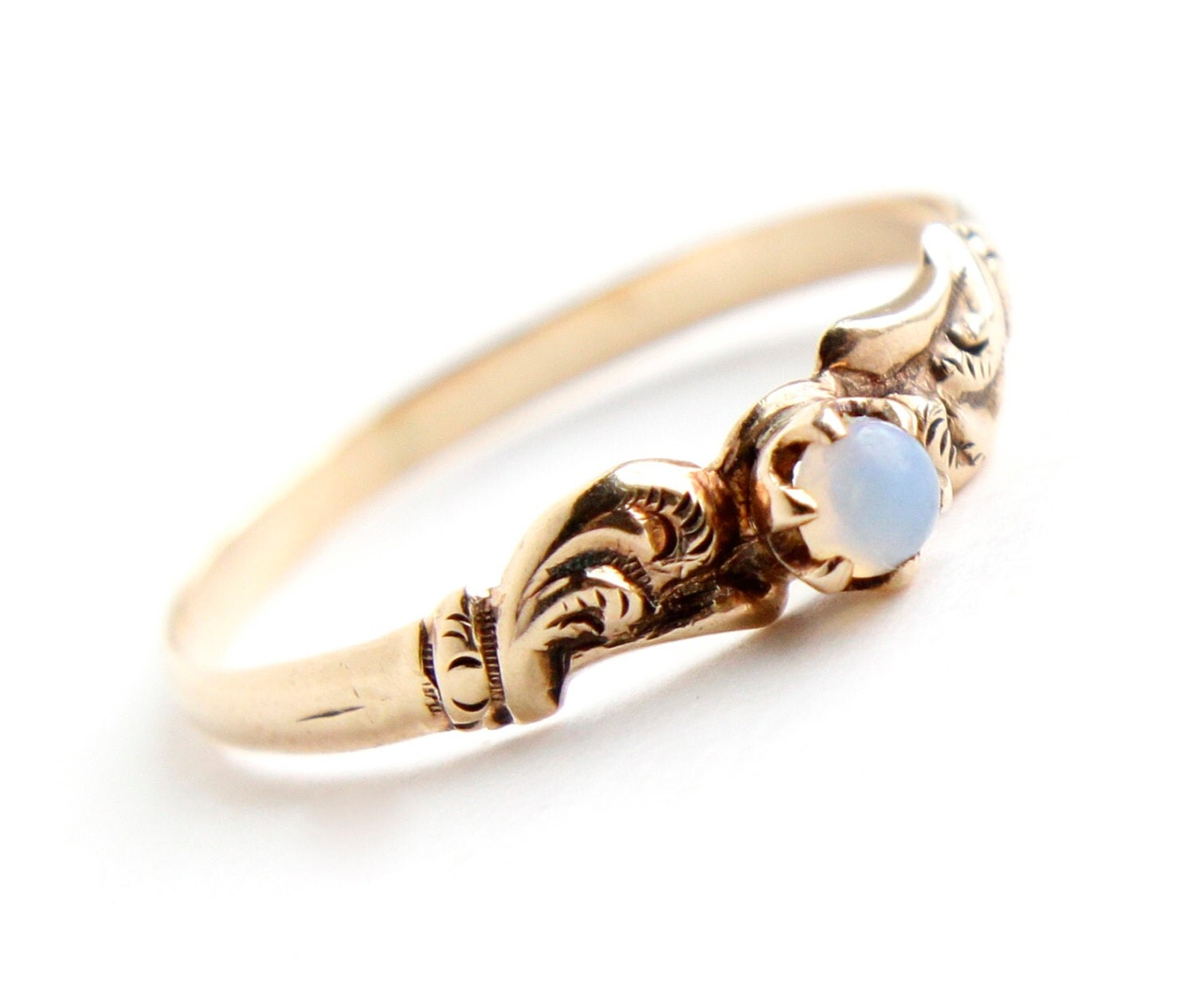 antique victorian 9k yellow gold moonstone wedding rings zoom