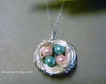 Bird Nest Necklace - Egg Nest Necklace - Mother's Day Gift - Mother of Bride gift - Mom Necklace - Mothers Day Necklace - Femmart