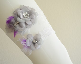 MADE TO ORDER,Grey and Purple, White garter,Shades of Grey flower, grey and plum Feather, rhinestone beading,lace garter, Style B059