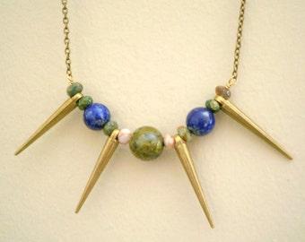 Spike Necklace Golden Brass, Lapis Lazuli and Jasper