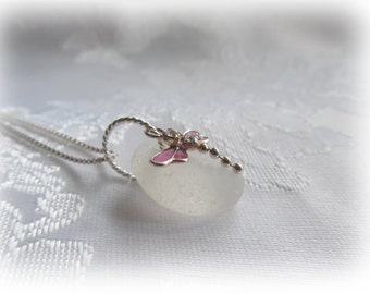 White Beach Glass Dragonfly Pendant Necklace