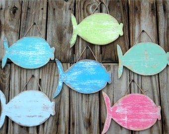 School Of 6  Wooden Fish, Rustic Wall Hanging, Coastal Decor, You Choose Colors